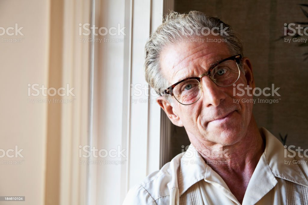 Portrait of senior man wearing eyeglasses royalty-free stock photo