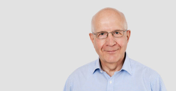 Portrait of senior man with glasses stock photo