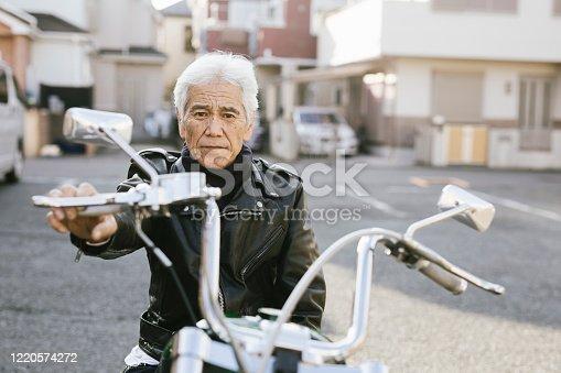 Portrait of Senior Asian Biker