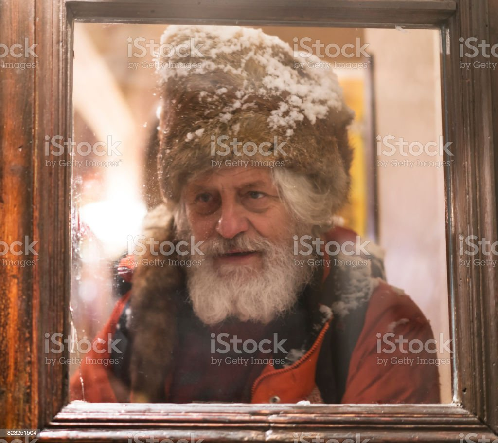 Portrait of senior with white beard and kuchma behind the door window royalty-free stock  sc 1 st  iStock & Portrait Of Senior With White Beard And Kuchma Behind The Door ... pezcame.com