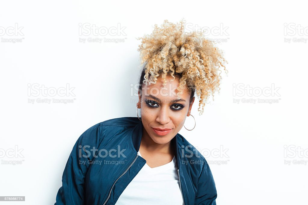 Portrait of sensual afro american young woman stock photo