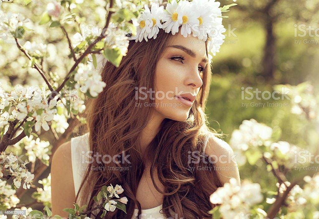 Portrait of sensual woman in the garden stock photo