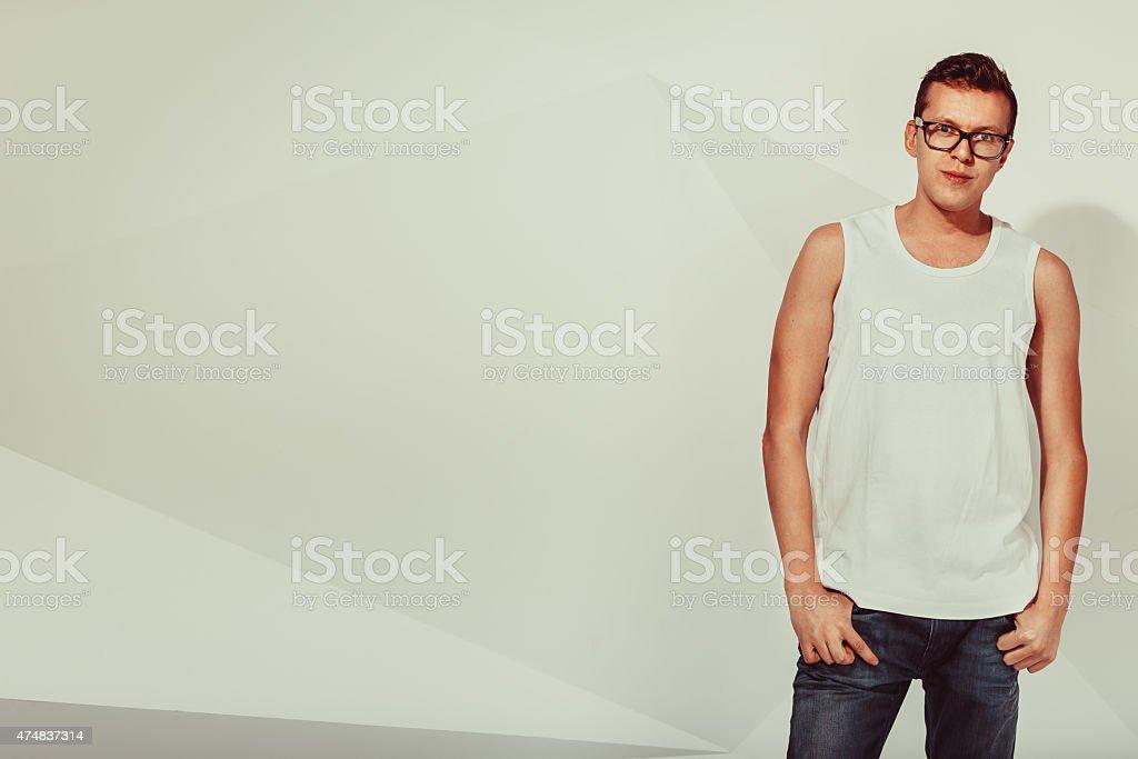 Portrait of serious cute man stock photo