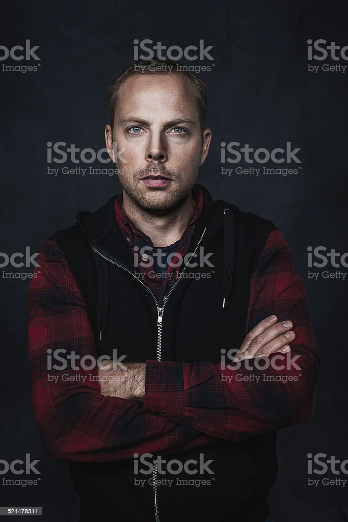 Portrait of serious handsome man stock photo