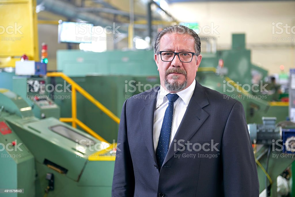 Portrait of serious manager in factory stock photo