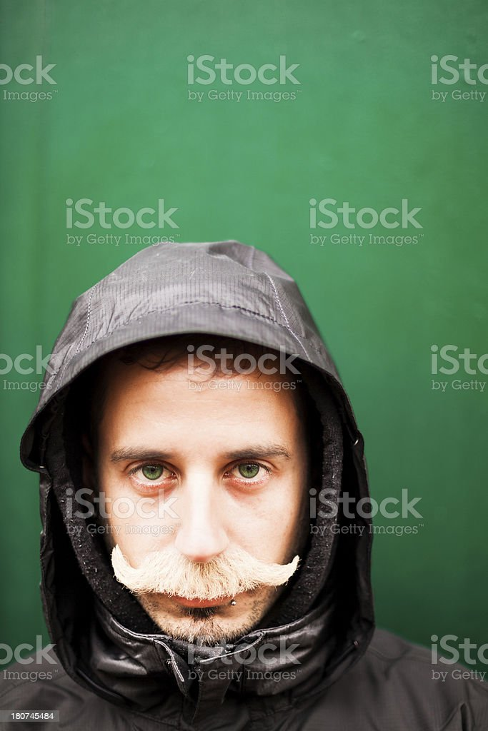 Portrait of Serious Sailor with Green Eyes and Blonde Moustache stock photo