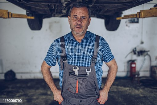 Portrait of serious worker in uniform that stands in his workshop