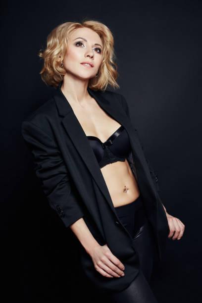 b1ed7bb9aac Portrait of sexy business women blonde in a black jacket