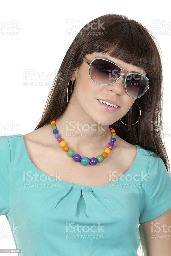 portrait of sexy woman in sunglasses over white background royalty-free stock photo