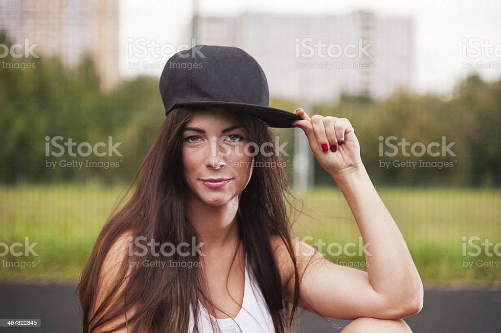 Portrait Of Sexy Woman With Cap stock photo