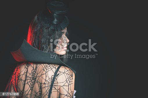 512061362 istock photo Portrait of sexy woman with gothic makeup smokey eyes 612747358
