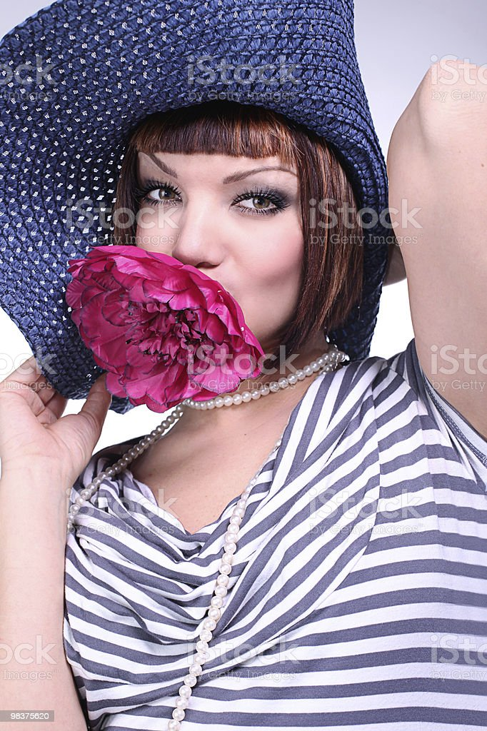 Portrait of sexy woman with peony royalty-free stock photo