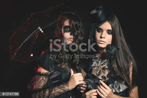 512061362 istock photo Portrait of sexy women with gothic makeup smokey eyes 612747750