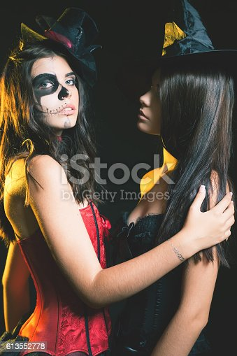 512061362 istock photo Portrait of sexy women with gothic makeup smokey eyes 613552778