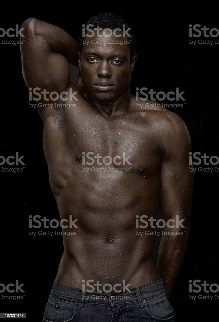 Portrait of Shirtless African American Man royalty-free stock photo