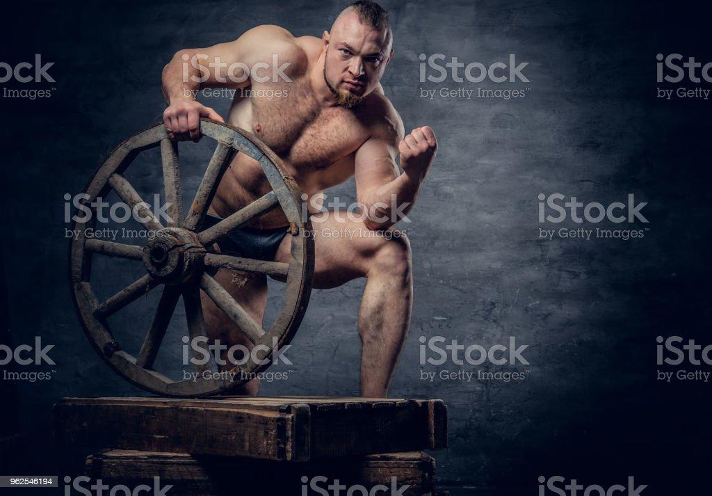 Retrato de homem escravo de fisiculturista muscular sem camisa. - Foto de stock de Abdome royalty-free