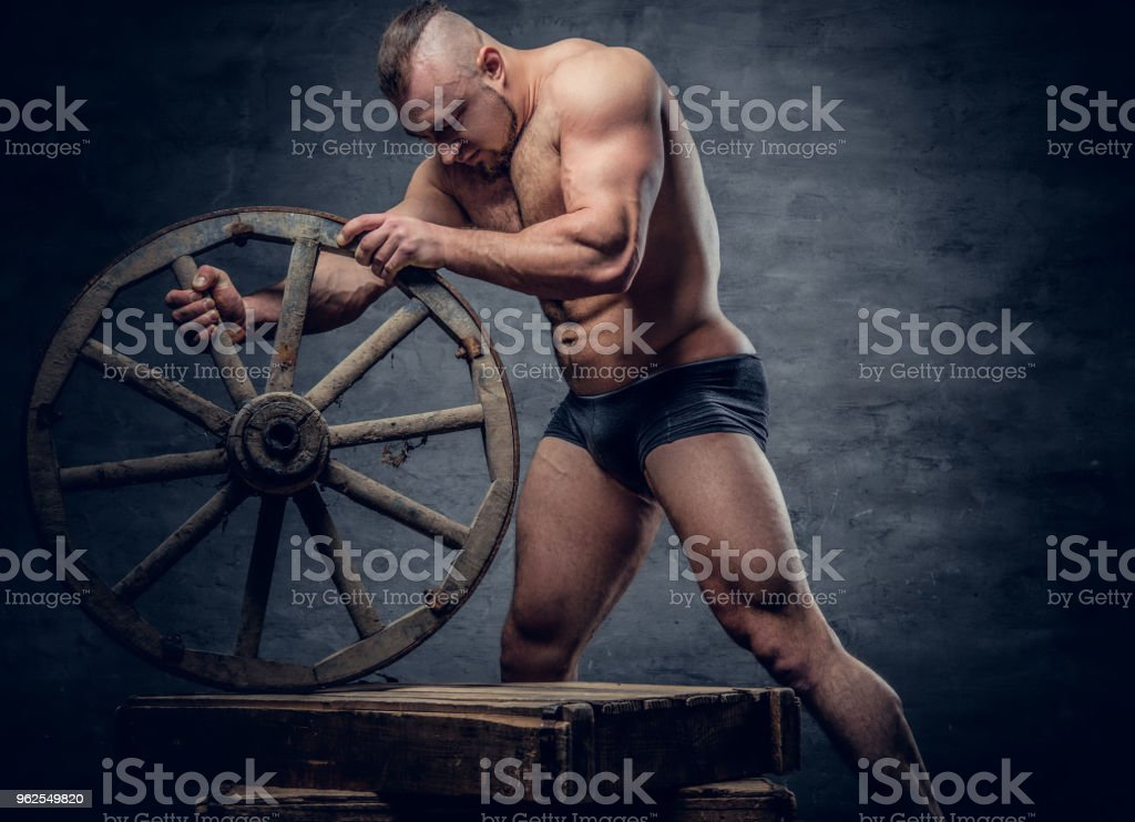Portrait of shirtless muscular slave male. - Royalty-free Abdomen Stock Photo