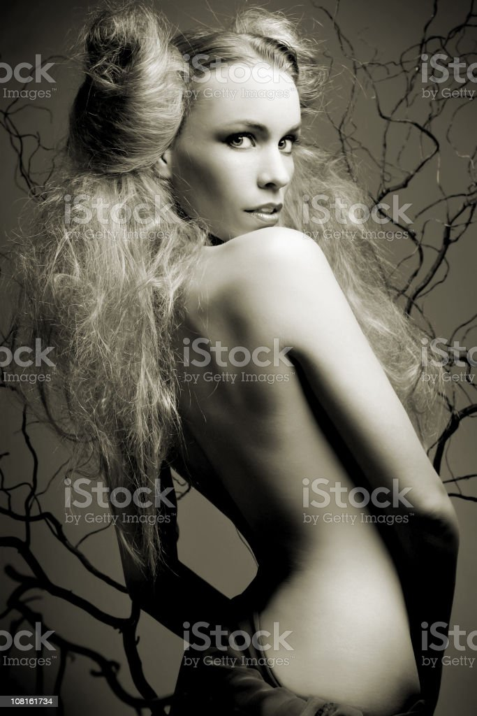 Portrait of Shirtless Woman, Black and White royalty-free stock photo