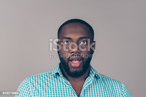 1092211952 istock photo Portrait of shocked excited afroamerican  bearded  man  open mouth 943073664