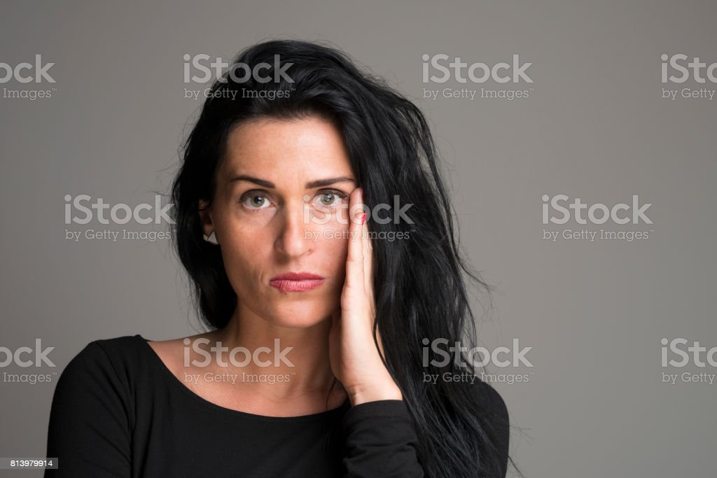 portrait of shocked woman with fever blister stock photo