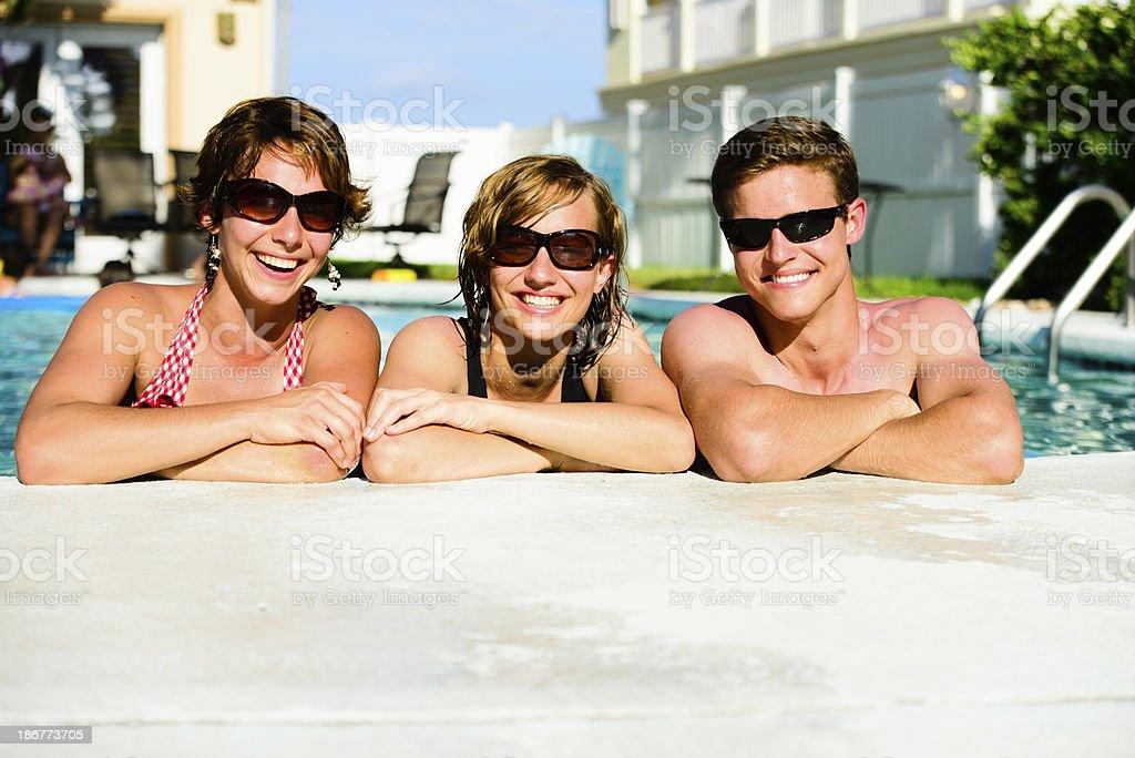 Portrait of Siblings or Friends in Pool royalty-free stock photo