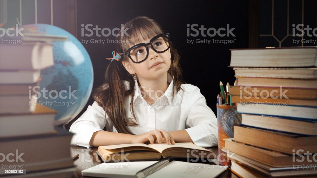 Portrait of Smart Schoolgirl royalty-free stock photo