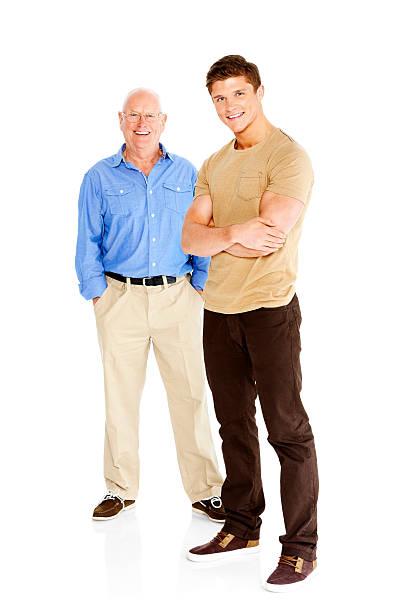 Retrato de hombre joven elegante encuentra con su padre - foto de stock