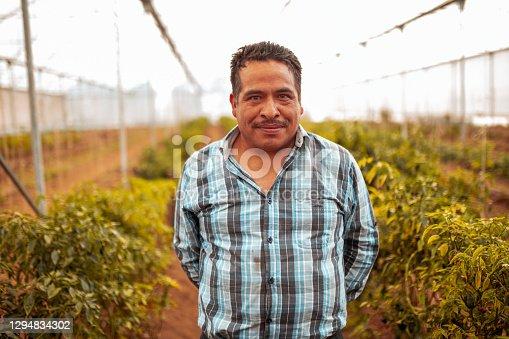 istock Portrait of smiled farm worker 1294834302