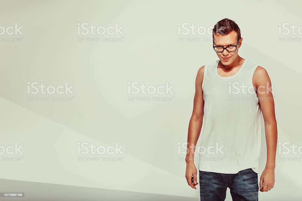 Portrait of smiley cute man stock photo