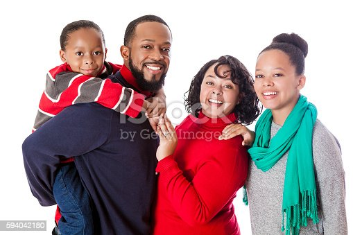 1126155137 istock photo Portrait of smiling African American family 594042180