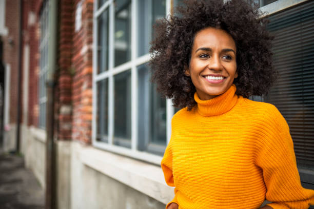 Portrait of smiling African American woman stock photo
