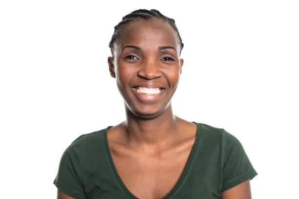 Portrait of smiling african young woman stock photo