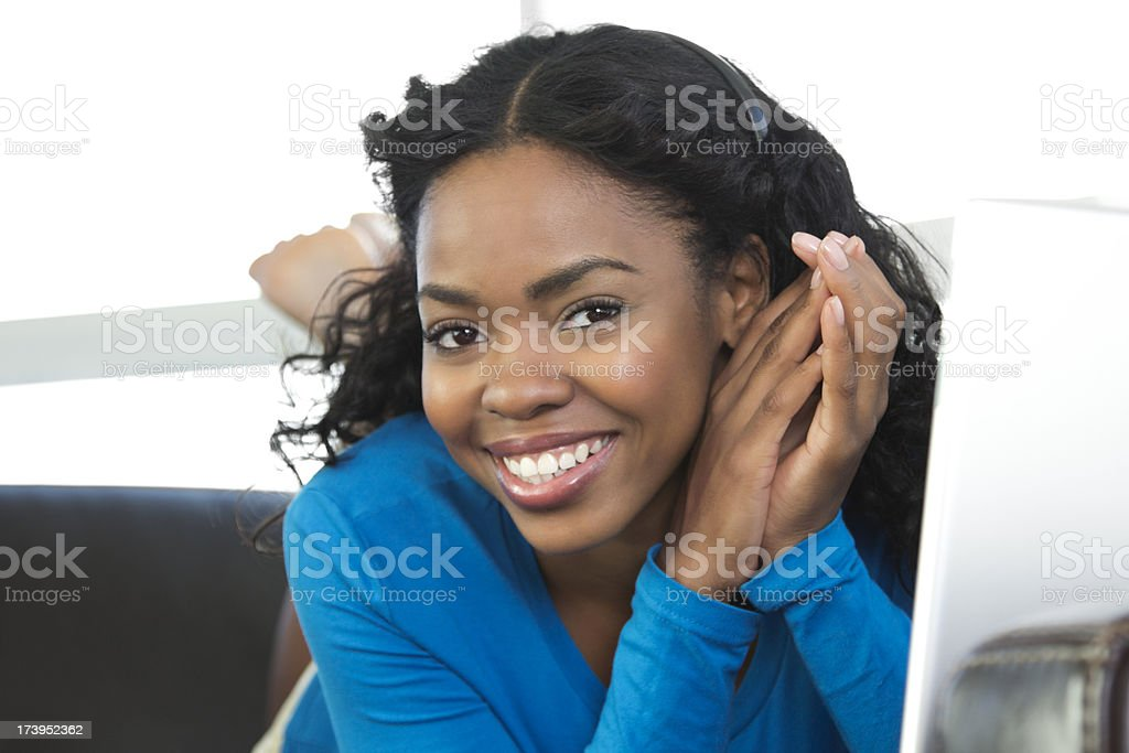 Portrait of smiling african-american female stock photo