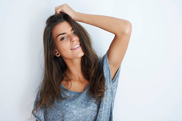 Portrait of smiling attractive woman stock photo