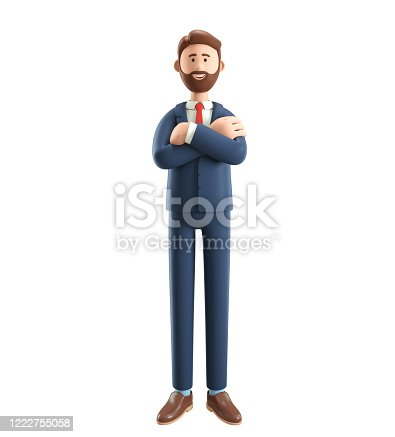 Portrait of smiling bearded businessman. 3D illustration of cartoon standing male character in suit with hands crossed, isolated on white background.