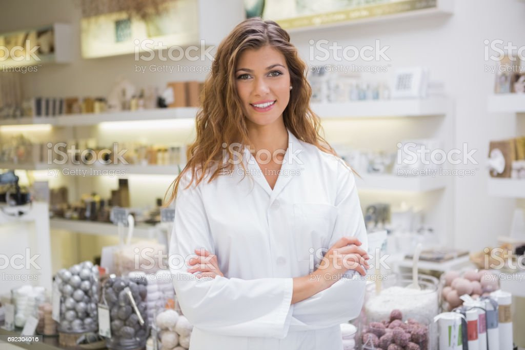Portrait of smiling beautician stock photo