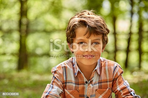 istock Portrait of smiling boy against trees in forest 800406836