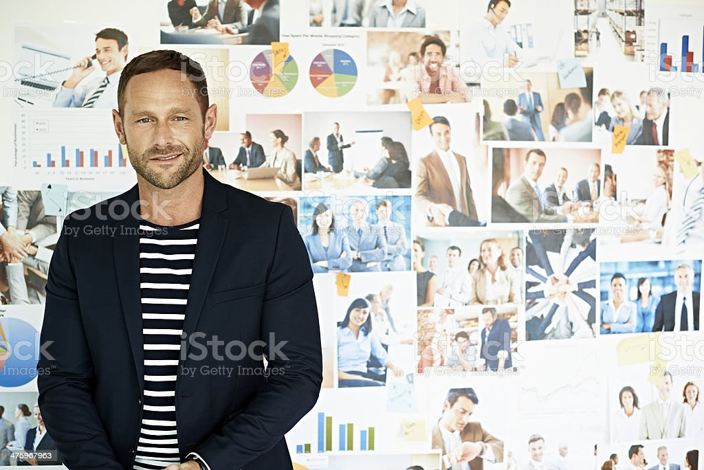 Portrait of smiling business man stock photo
