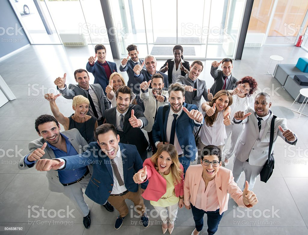 Portrait of smiling business people stock photo