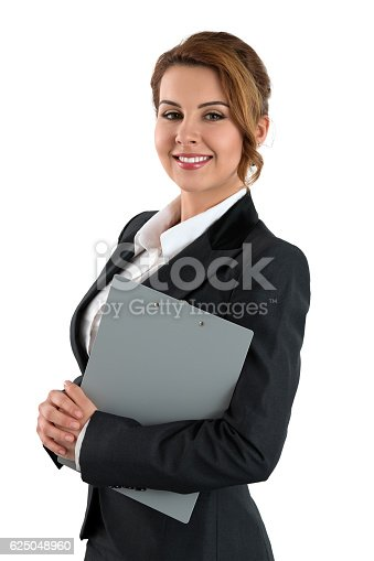 istock Portrait of smiling business woman holding gray clipping pad 625048960