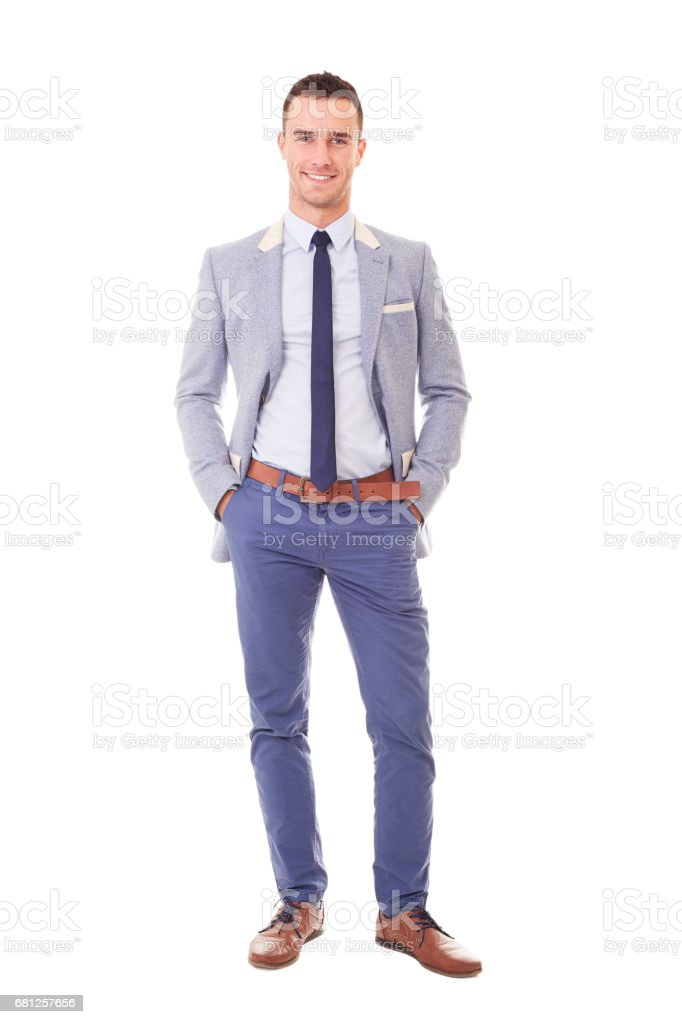 Portrait of smiling businessman isolated on white stock photo