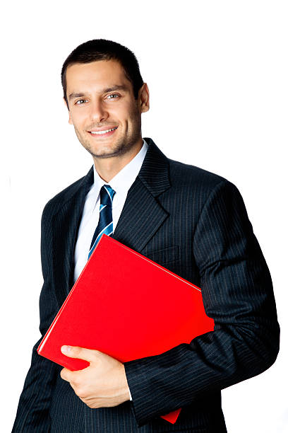 Portrait of smiling businessman with red folder, isolated on white stock photo
