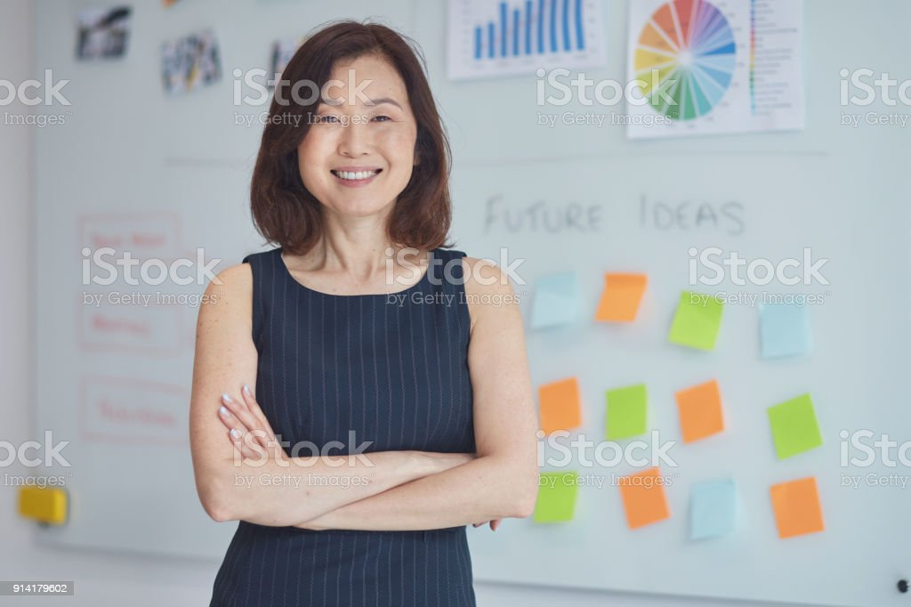Portrait of smiling businesswoman at office stock photo