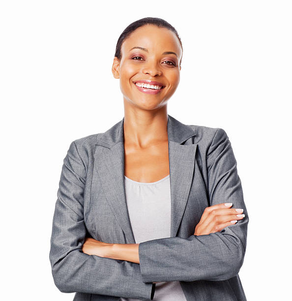 Portrait Of Smiling Businesswoman - Isolated stock photo