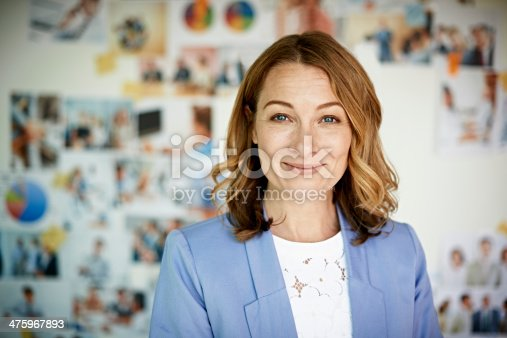istock Portrait of smiling businesswoman 475967893