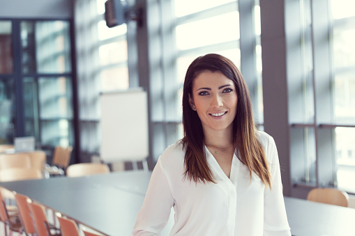 Portrait Of Smiling Businesswoman Standing In An Office Stock Photo - Download Image Now