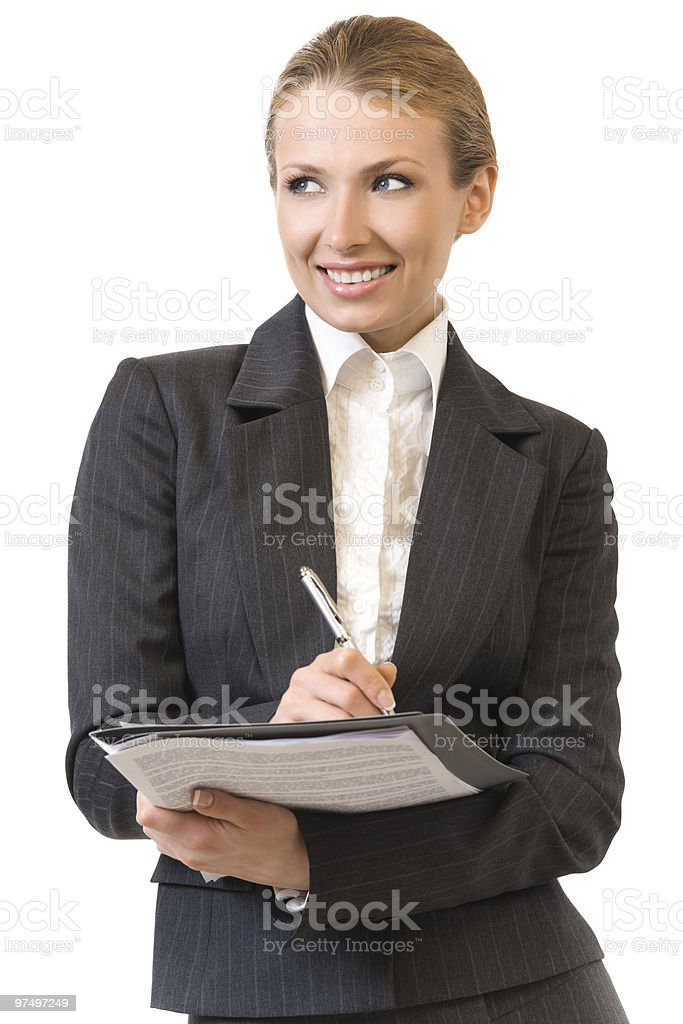 Portrait of smiling businesswoman with pen, isolated on white royalty-free stock photo