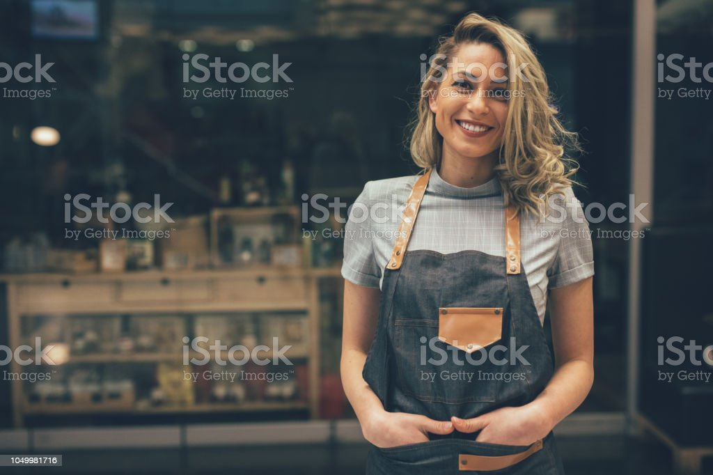 Portrait of Smiling cafeteria owner stock photo