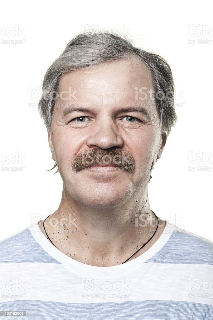 portrait of smiling cheerful mature man isolated on white background royalty-free stock photo