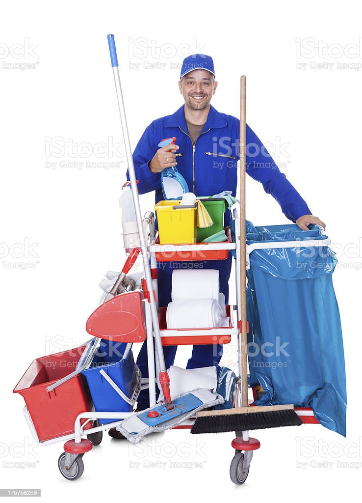 Portrait Of Smiling Cleaner royalty-free stock photo